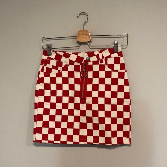 Red & White Checkered Denim Mini Skirt